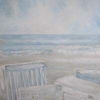 Wandbild mit Acrylfarben, Nordsee, klare Farben, Wellen, Meer, Strand, Strandkörbe, Am Strand, 80 x 80 cm-2015-1
