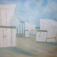 Strandkörbe am Meer, Format 80 x 80 cm VERKAUFT