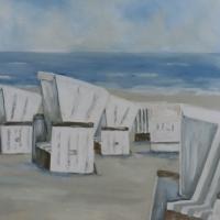 Strandkörbe am Morgen, Acrylbild, frische klare Farben, weiß-grau-blau Format: 100 x 70 cm, IM ONLINE SHOP