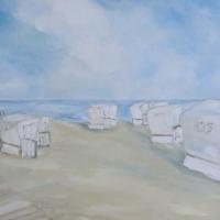 Acrylbild, Original Acryl auf Leinwand, Weiße Strandkörbe, 100 x 70 cm, VERKAUFT