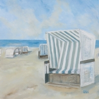 Als Druck erhältlich, limitiert, Acrylbild, verschiedene Formate, Weiße Strandkörbe mit Streifen, Dünenlandschaft, Nordsee, Meer, Wasser, Sand, helle Farben