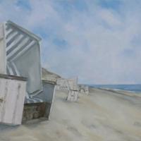 Wandbild, Acrylbild, Sommertag, großer Strandkorb am Meer, klare Farben, Format 100 x 70 cm, im Strandhaus in St.Peter-Ording