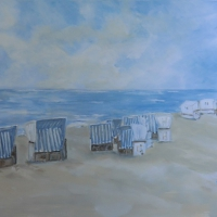 Acrylbild, Original Acryl auf Leinwand, Weiße Strandkörbe, Meer, Strand, 100 x 70 cm, VERKAUFT