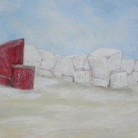 Acrylbild, Wandbild in frischen Farben mit rotem Strandkorb, Strand, Dünen, 100 x 70 cm