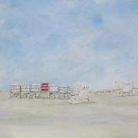 Acrylbild, Strandkörbe mit rotem Strandkorb, St.Peter-Ording, Wandbild mit viel Himmel und frischen Farben, Acryl auf Leinwand, 100 x 70 cm