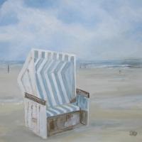 Acrylbild, Wandbild mit Acrylfarben, Strandkorb, 80 x 80 cm