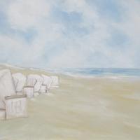 Acrylbild, Wandbild mit Strandkörben,Acryl auf Leinwand, 100 x 70 cm
